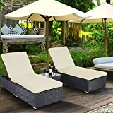 TANGKULA 3 Piece Chaise Lounge Chair Set Patio Outdoor Wicker Chaise Furniture with Heavy Duty Padded Cushions Adjustable Backrest Non-slip Covered Lounger Chair & Tempered Glass Coffee Table (Black) Review