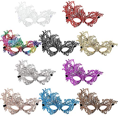 Jovitec Multicolored Masquerade Masks Lace Masks Venetian Masks Halloween Mari Grass Party Mask (10 Pieces)