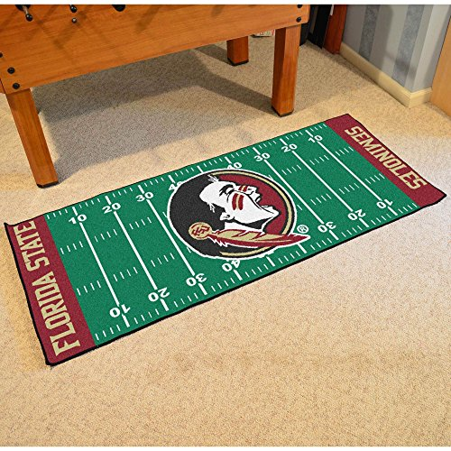 Fan Mats Florida State University Patterned Area Rug, Seminoles Indian Football Field Theme, Runner Indoor Hallway Living Area Bedroom Kitchen Cabin Carpet, Geometric Lines Style, Maroon Size 2'5 x 6 ()