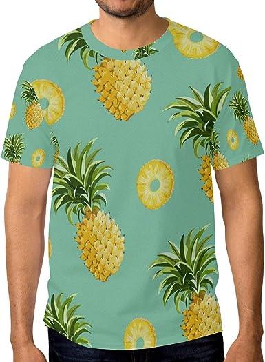 FAJRO - Camiseta de Manga Corta para Hombre, diseño de piña 1 ...