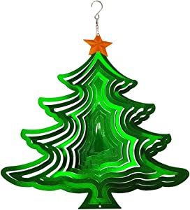 FONMY Wind Spinner 3D Stainless Steel Christmas Decoration Garden Decoration Indoor Outdoor Hanging Ornament Worth Gift 12inch Christmas Tree Metal Wind Spinners