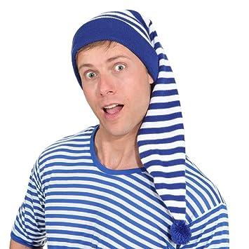 Schlafmütze Nachtmützen Schlafhaube Maxi Erwachsene Blau Weiß Fasching Karneval