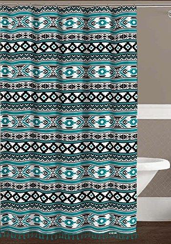 Aztec Geometric Fabric Shower Curtain Teal Black White Tribal Design With Boho Fringe