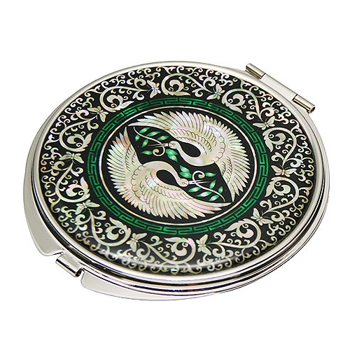 Mother of Pearl Crane Design Double Compact Magnifying Purse Mirror