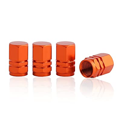 GODESON Orange Aluminum Tire Valve Stem Cap with Hexgon Style, 4 Pcs/Set, Aluminum Tire Wheel Stem Air Valve Caps for Auto Car Motorcycle Bicycle: Automotive