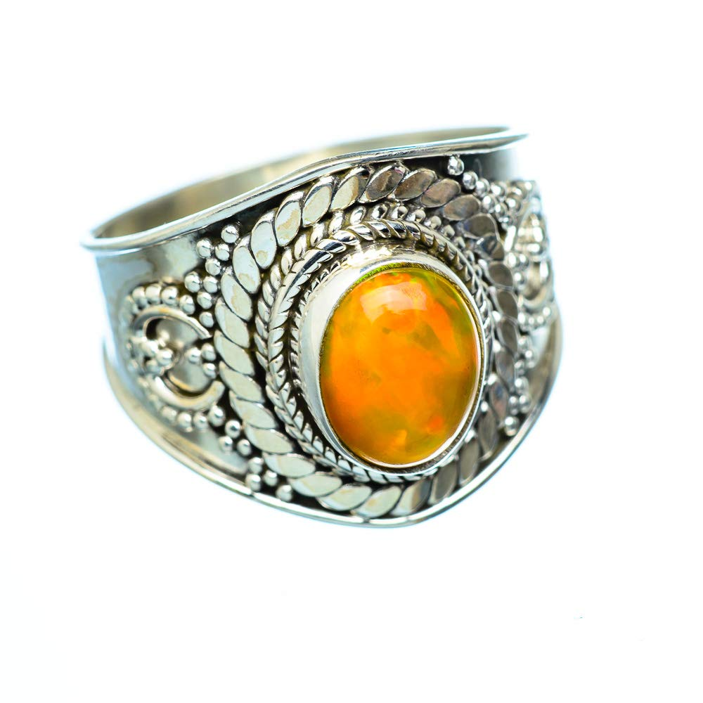 Vintage RING947078 925 Sterling Silver Ana Silver Co Natural Ethiopian Opal Ring Size 7.25 Bohemian - Handmade Jewelry