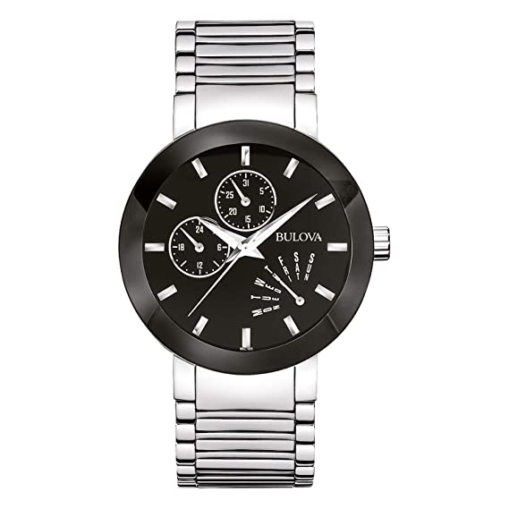 18393cac4 Bulova Men s 96C105 Black Stainless Steel Watch  Bulova  Amazon.com ...