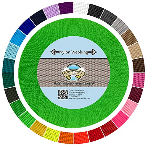 Country Brook Design | Durable 1 Inch Heavy Nylon Webbing | 28 Vibrant Colors (Hot Lime Green, 20 Yards) ()