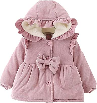 TM Baby Girls Hooded Wool Cotton Trench Coat Outwear LefRight
