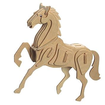 Diy 3d bois modèle de cheval de puzzle kit de construction cadeau jouet de puzzle