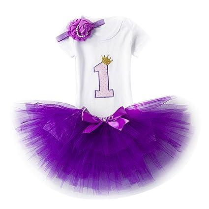 082f1da7a9fbc Ensemble Bébé Fille Anniversaire Set de Vêtements pour Fête pour Fille 1er 2ème  Anniversaire 3