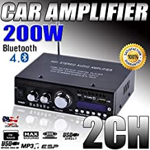 Cirocco Bluetooth Stereo Amplifier Receiver HIFI Audio  2 CH 200W AMP Music MP3/USB/SD Card Speaker FM Radio Wireless Streaming Digital Power Player Mini – For Cars Truck Home Boat Van SUV Motorcycle