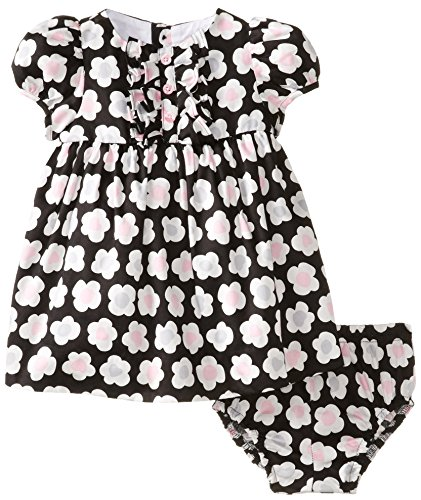 Hartstrings Newborn Baby Girls Cotton Sateen Dress, Black Leopard Floral, 6-9 Months (Hartstrings Cotton Dress)