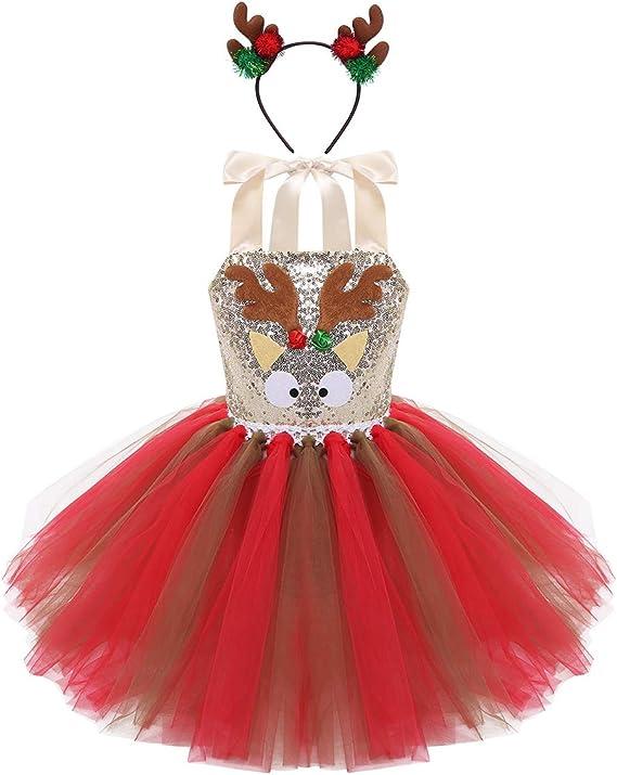 IEFIEL Disfraz Reno Ciervo de Navidad Halloween para Niña Vestido ...