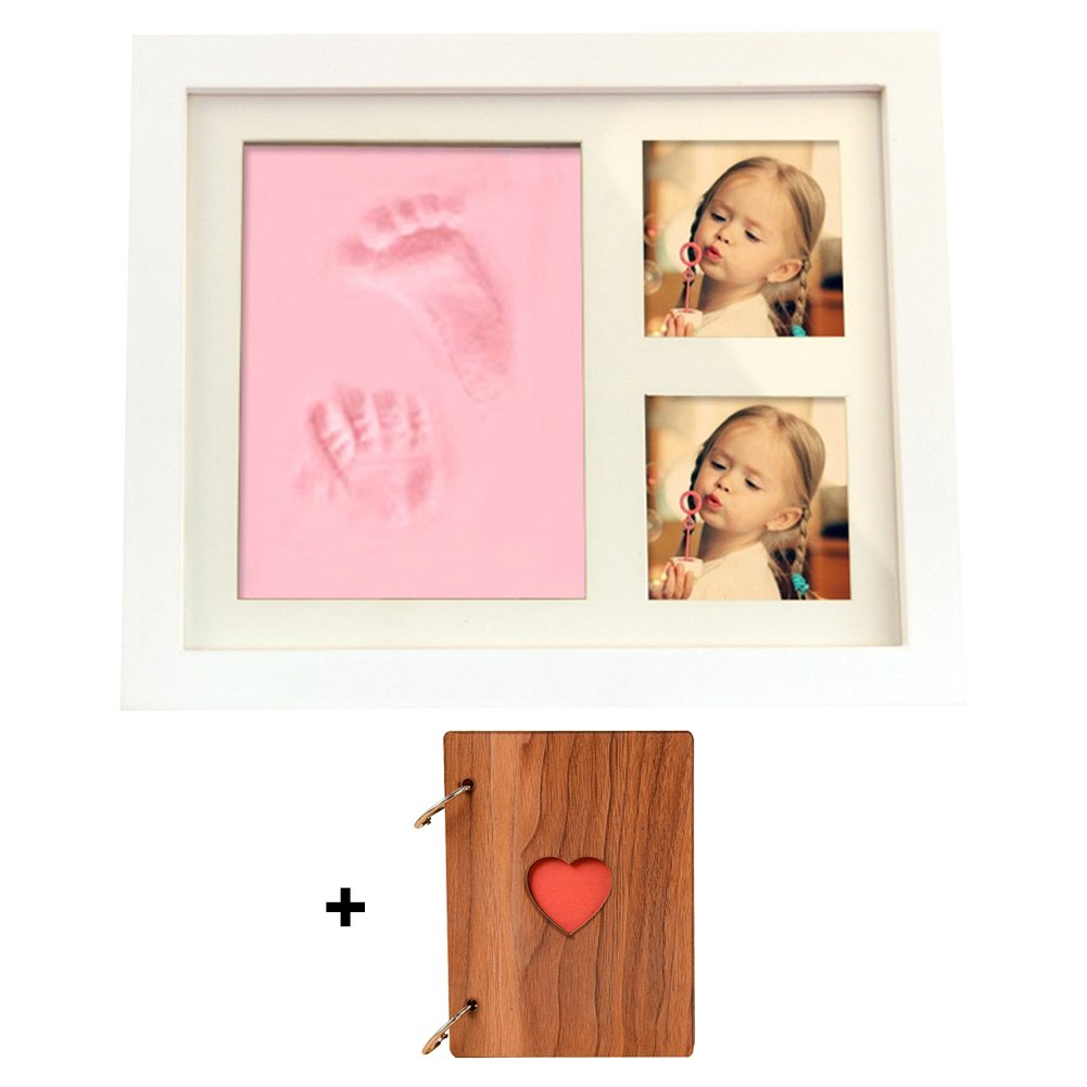 GZQ Picture Frame Baby Handprint and Footprint Picture Frame Kit with Photo Album and Clay for Family Room Wall Table Pictures Decoration Baby Shower Gift (Pink)