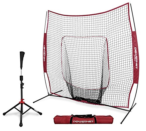 PowerNet Baseball Softball Practice Net 7x7 with Deluxe Tee (Maroon) | Practice Hitting, Pitching, Batting, Fielding | Portable, Backstop, Training Aid, Lg Mouth, Bow frame | Training Equipment Bundle