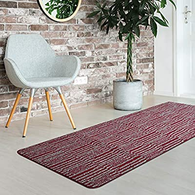 iCustomRug Fashion Loop Area Rug Runner Kitchen Entry Living Bedroom Hallway Washable Anti-Skid Stain Resistant 2'x 6' Red Striped - DUAL TEXTURED PILE: High and Low loops LOW PILE HEIGHT: Great for living room, kids bedroom, hallway ext. EASY TO CLEAN: Wipe spills with damp cloth, vacuum regularly. - runner-rugs, entryway-furniture-decor, entryway-laundry-room - 61QckXjmn3L. SS400  -