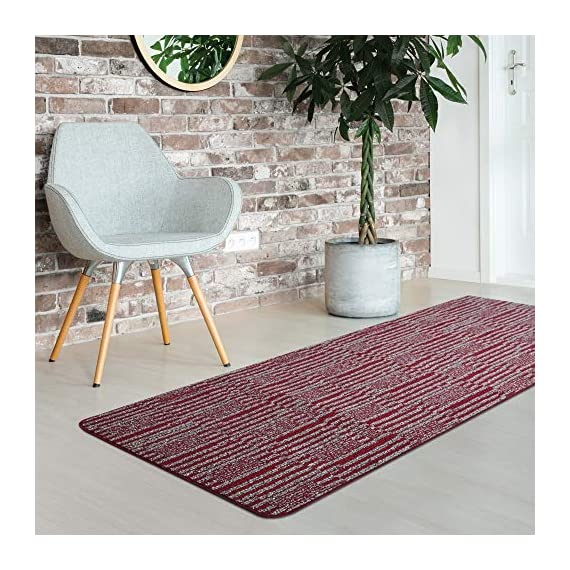 iCustomRug Fashion Loop Area Rug Runner Kitchen Entry Living Bedroon Hallway Washable Anti-Skid & Stain Resistant 2' X 6' Red Runner -  - runner-rugs, entryway-furniture-decor, entryway-laundry-room - 61QckXjmn3L. SS570  -