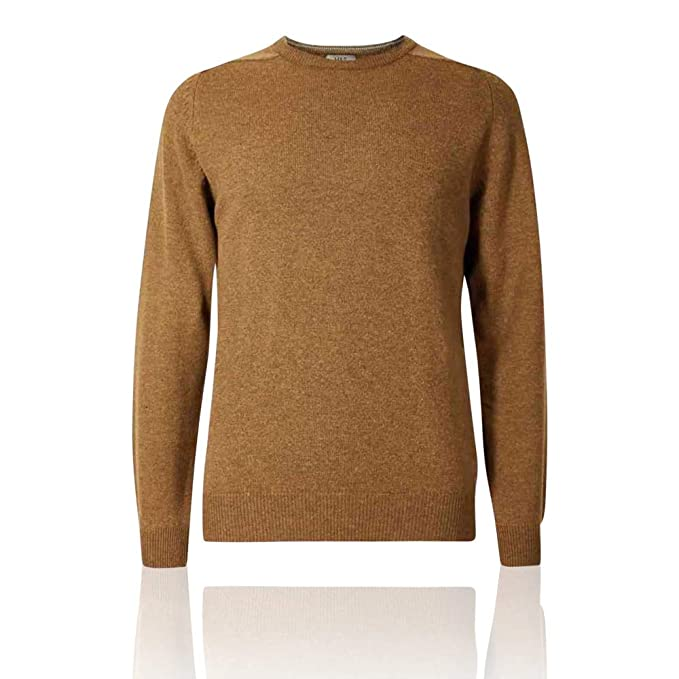 Ex Marks /& Spencer T302650M M/&S Pure Extra Fine Lambswool Crew Neck Dark Gold Jumper RRP /£35