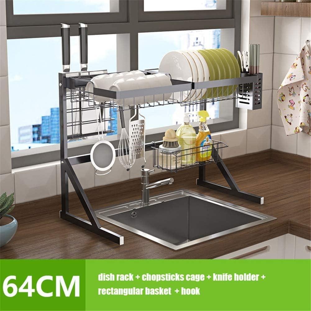 シンクYL皿乾燥ラック-多目的-大容量、ステンレス製キッチン用品収納棚調理器具ホルダー、A