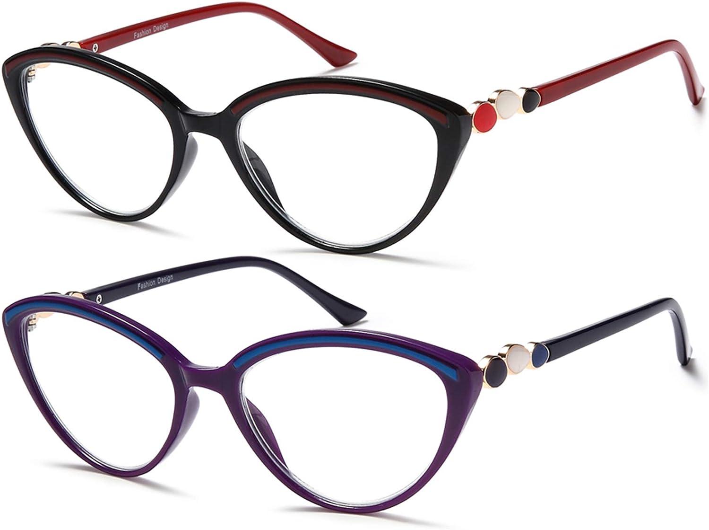 Computer Reading Glasses +20200.200 Women Trendy   20 Pack Cat Eye Blue Light  Blocking Computer Readers Filter Lightweight Eyeglasses Red Purple