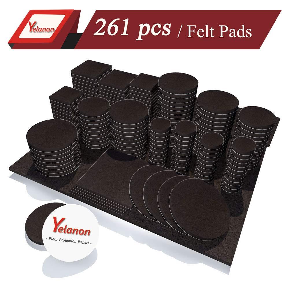 Yelanon Furniture Pads 261 Pieces - Self Adhesive Felt Pad Brown Felt Furniture Pads Anti Scratch Floor Protectors for Chair Legs Feet for Protect Hardwood Tile Wood Floor & Laminate Flooring