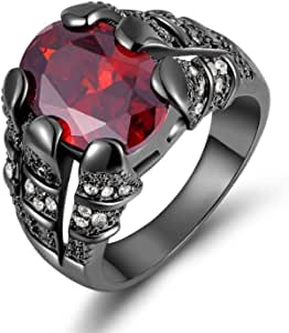 Black Rhodium Plated Men's Ring with Red Garnet gemstone Size US 10