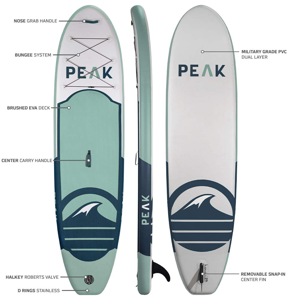 Peak All Around Inflatable Stand Up Paddle Board Package | 10'6'' Long x 32'' Wide x 6'' Thick | Durable and Lightweight SUP | Stable Wide Stance | Moss by PEAK Paddle Boards (Image #4)