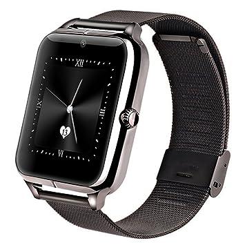Metálica Bluetooth Reloj Inteligente Amarre Pulsera Smart Watch Compatible con Android Smartphone Soporta Llamada Mensaje SIM Para Smartphone Android