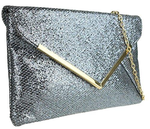 Bag Yellow Metallic Clutch Large HandBags Girly Glitter Flat Prom Grey Gold Sparkle Ladies Evening w5UA16qX