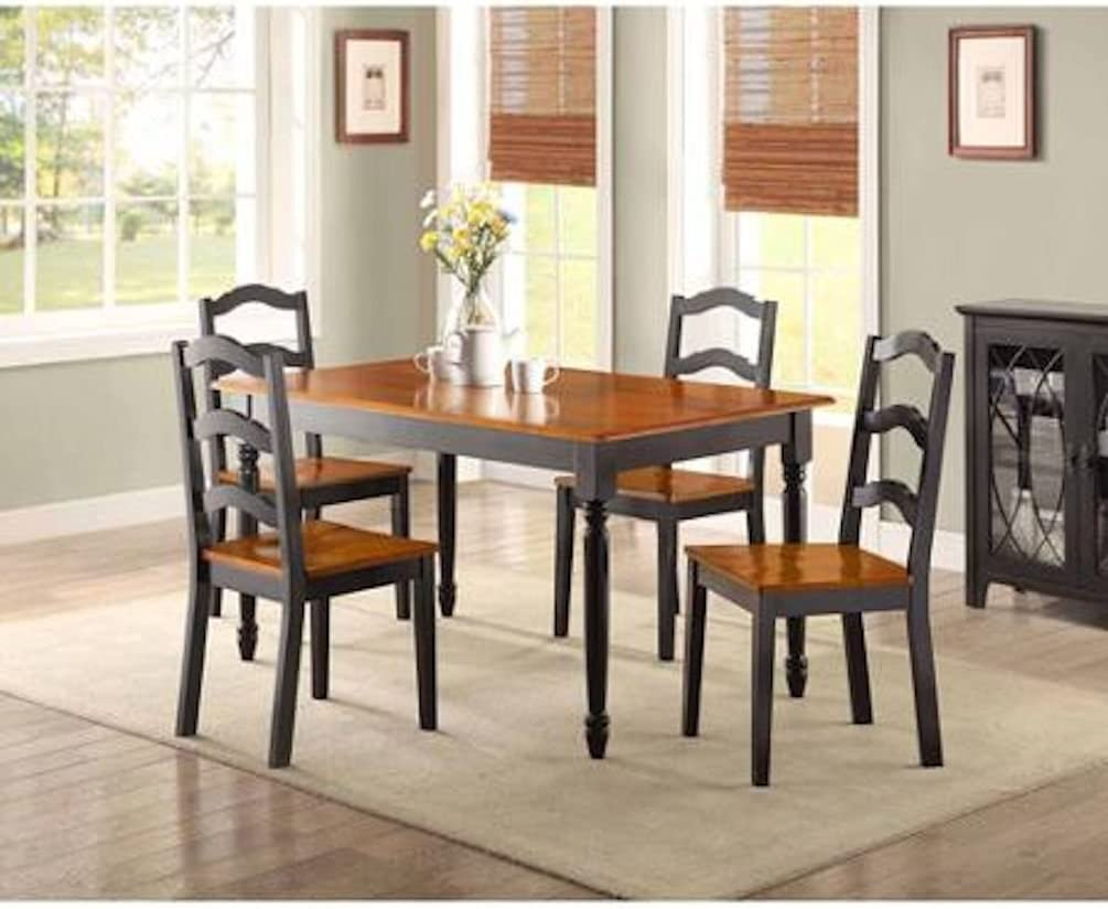 Amazon Com Better Homes And Gardens Autumn Lane 5 Piece Dining Set Black And Oak Table Chair Sets