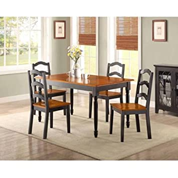 Better Homes And Gardens Autumn Lane 5 Piece Dining Set, Black And Oak