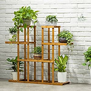 MILUCE Anti - Corrosion Solid Wood Flower Rack Combination Outdoor Balcony Plant Display Stand Multi - Functional Flower Pot Frame Wooden Shelves ( Size : S )