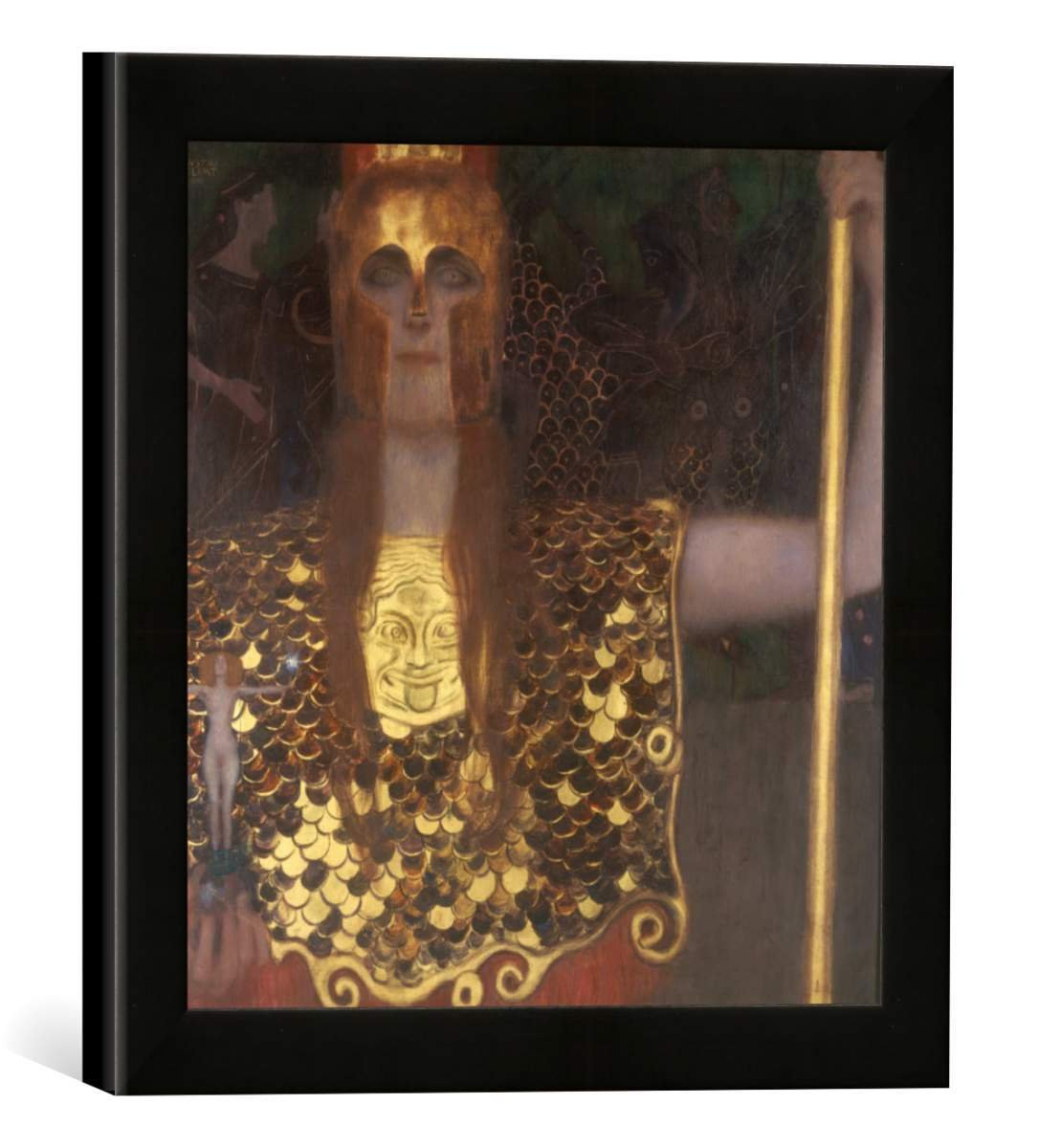 Gerahmtes Bild von Gustav Klimt Pallas Athene, Kunstdruck im hochwertigen handgefertigten Bilder-Rahmen, 30x30 cm, Schwarz matt