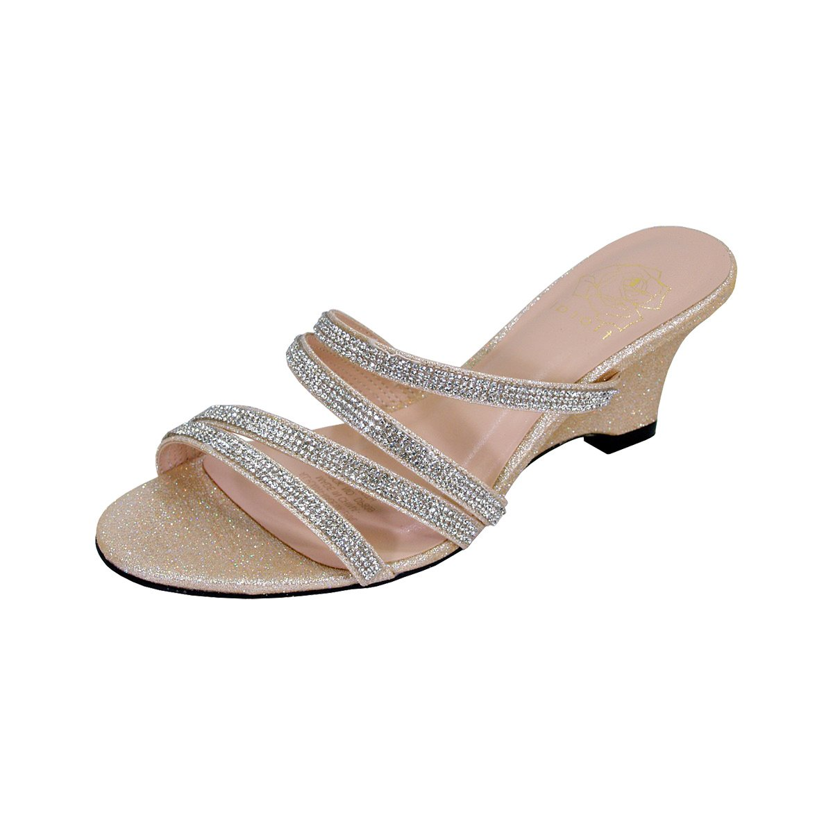 Floral Kelly Women Extra Wide Width Rhinestone Strappy Slip On Wedge Heeled Party Sandals Champagne 9