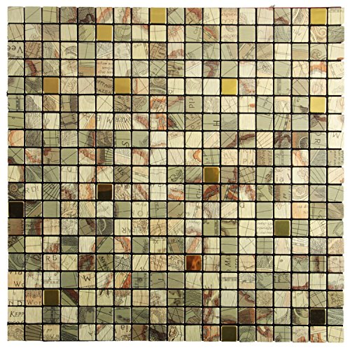 Royllent Modern Matel Aluminum Mosaic Bursh Type Peel&Stick Tiles Kitchen Decoration Backsplash Accent wall Tv&Sofa Background Bathroom Wall 1 Sq.ft (Brushed Metal Gold Background)