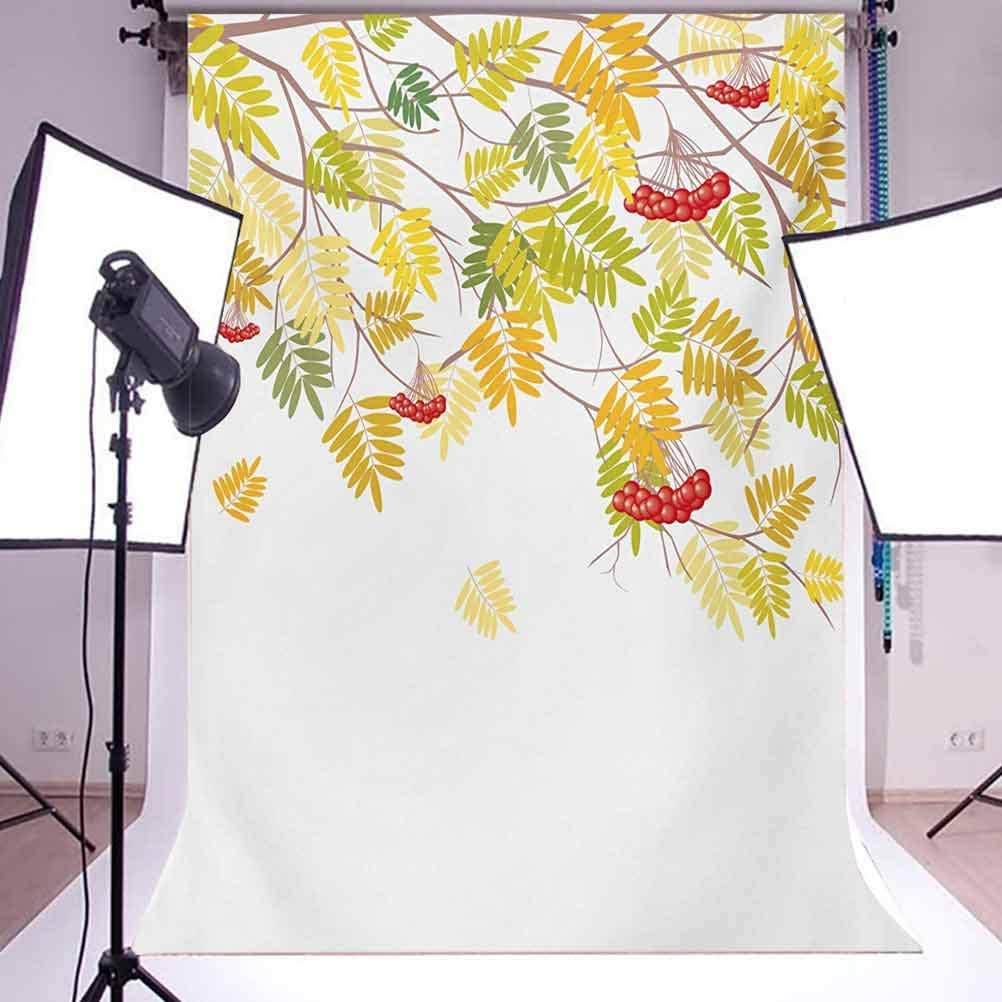 Rowan 6.5x10 FT Photo Backdrops,Colorful Autumn Season Theme Vivid Rowan Tree with Fruits and Dried Leaves Graphic Background for Photography Kids Adult Photo Booth Video Shoot Vinyl Studio Props