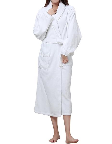 9e38fc0a45 LAPAYA Women s Terry Bathrobe Soft Plain Hotel Long Sleeve Long Cotton  Bathrobe