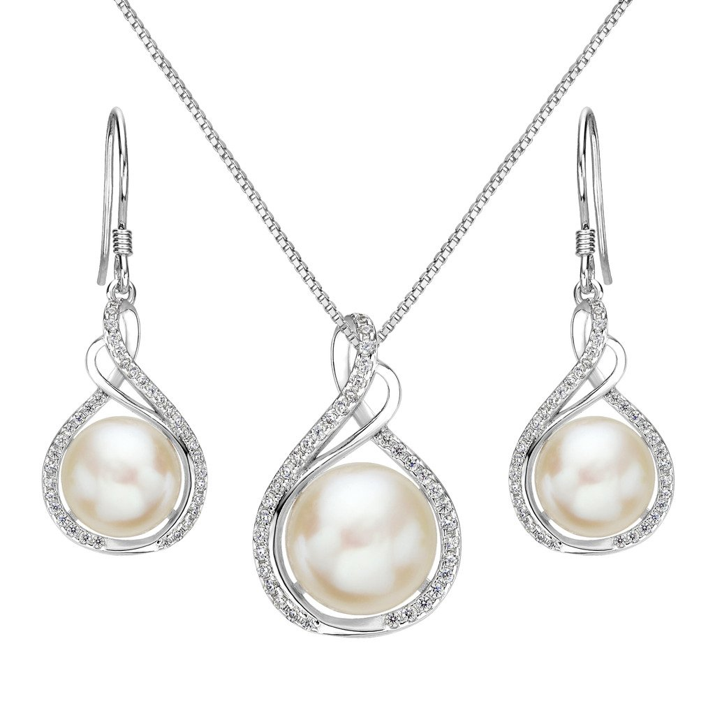 EleQueen 925 Sterling Silver CZ Cream Freshwater Cultured Pearl Infinity Bridal Necklace Hook Earrings Set Clear 16001452-1