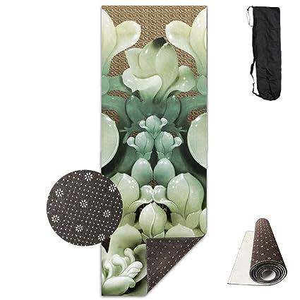 89d54e061ca Amazon.com   GIRLSHI HD Jade Carving Magnolia Flower Printed Yoga ...
