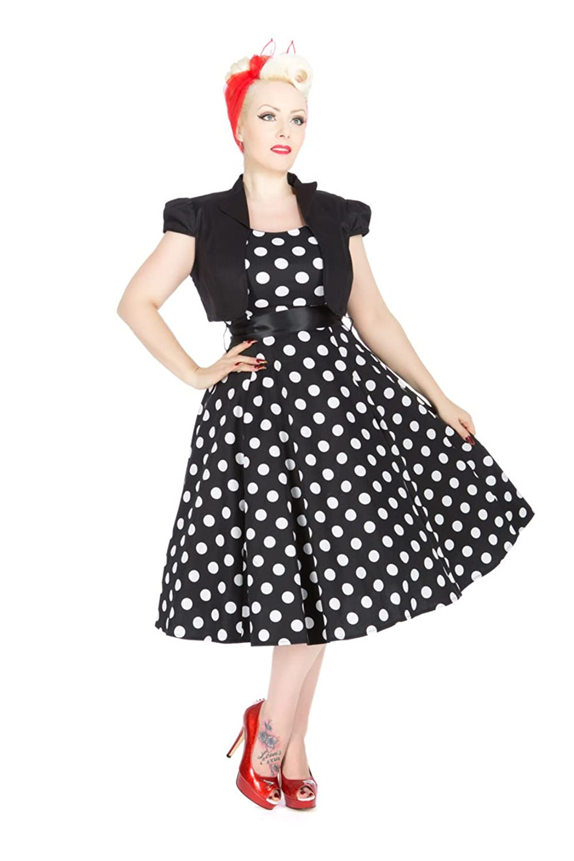 h r polka dots vivian 50s punkte bolero swing dress kleid. Black Bedroom Furniture Sets. Home Design Ideas