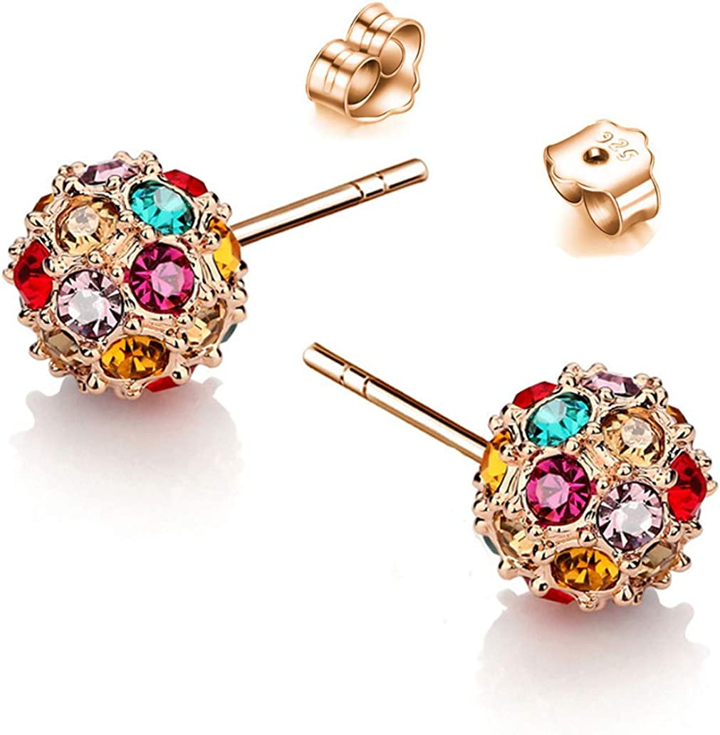 Beautiful Crafted Multicolored Unique Ball Shaped 18k White/Rose Gold Plated Swarovski Crystal Zircon Austria Rhinestone Earrings Pierced Eardrop Stud