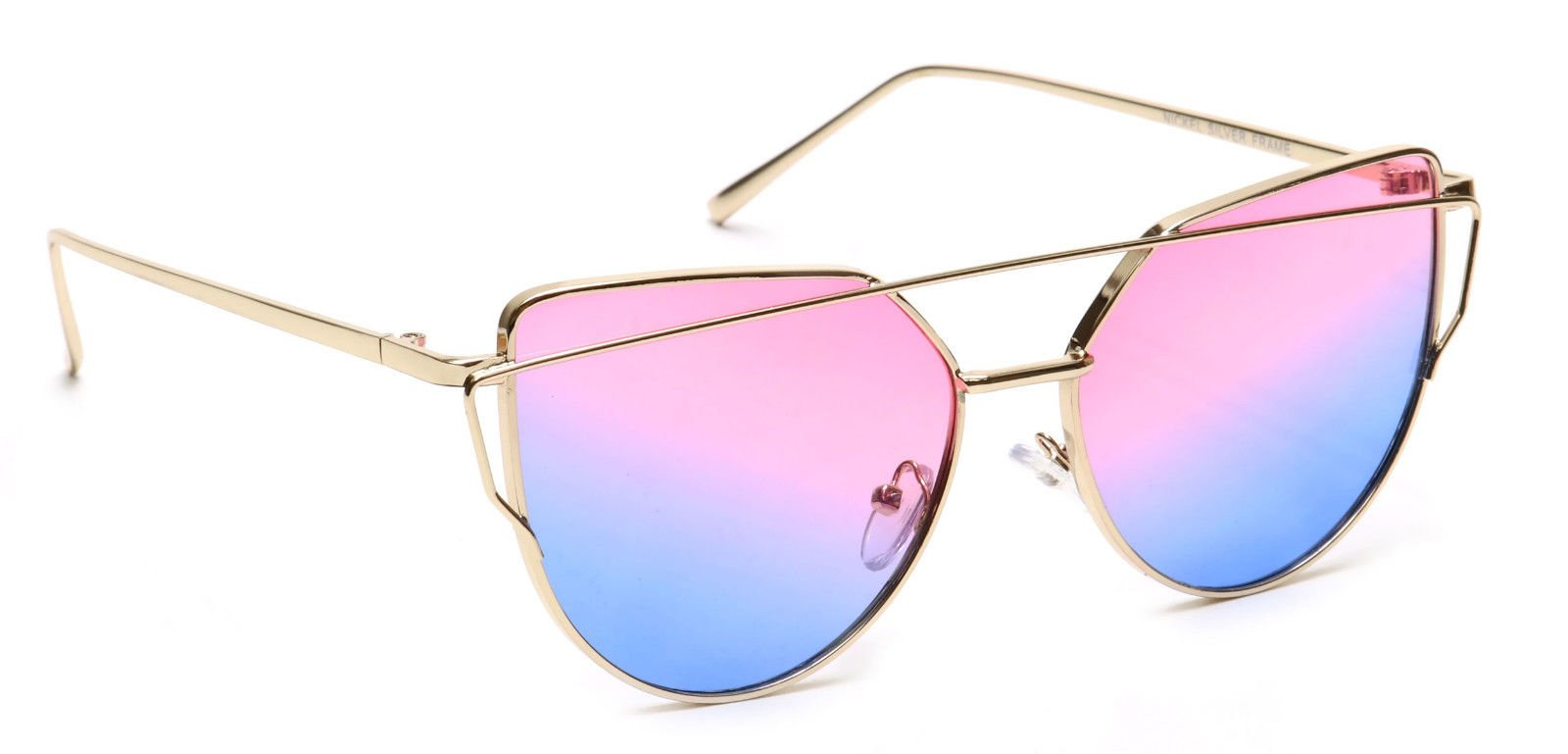 Tantino Sunglasses Cat Eye Fashion Mirror or Transparent Lens Love Punch Style (MEDIUM Pink/Blue Transparent, UV400)