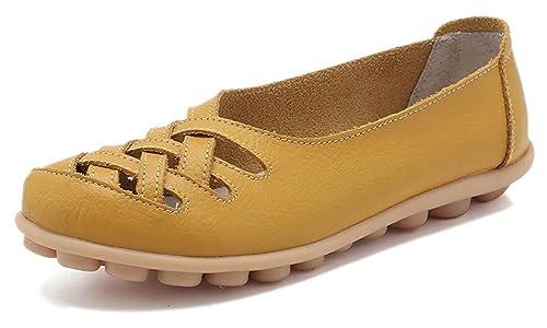 Mocasines de Cuero Mujer Loafers Casual Zapatos de Conducción Cómodos  Zapatillas del Barco  Amazon.es  Zapatos y complementos a0dc6ccb3eaf
