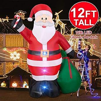 Amazon.com: Papá Noel inflable gigante de 12 pies con bolsa ...