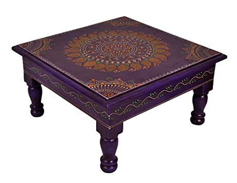 Amazoncom Indian Mini Table Vintage Wooden End Table Small