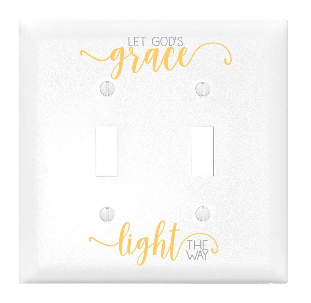 Let God's Grace Light Let Your Light Shine ダブルライトスイッチカバー   B0722DWFNK