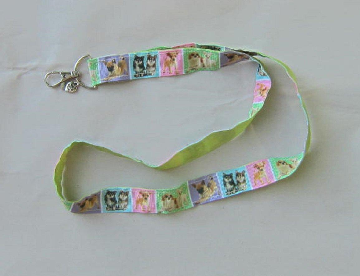 CHIHUAHUA Dog Breed Ribbon Lanyard//Keychain//Badge Holder w//Metal Charm