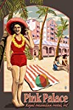 Hawaii - Royal Hawaiian Hotel (24x36 SIGNED Print Master Giclee Print w/ Certificate of Authenticity - Wall Decor Travel Poster)