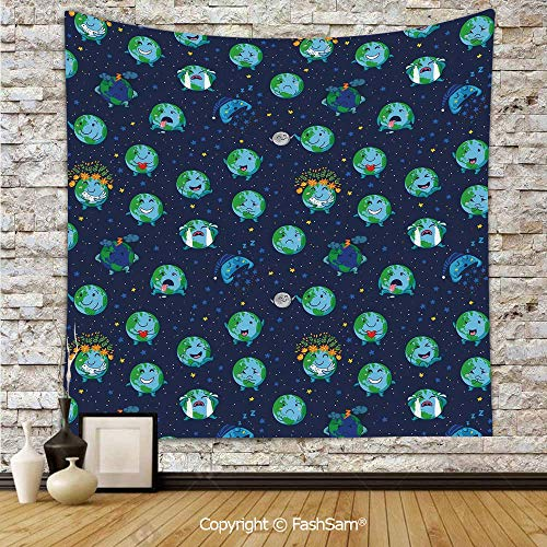 Polyester Tapestry Wall Planet Earth as Smiley Angry Happy Sad Cheerful Faces Expressions and Star Backdrop Hanging Printed Home Decor(W39xL59)]()